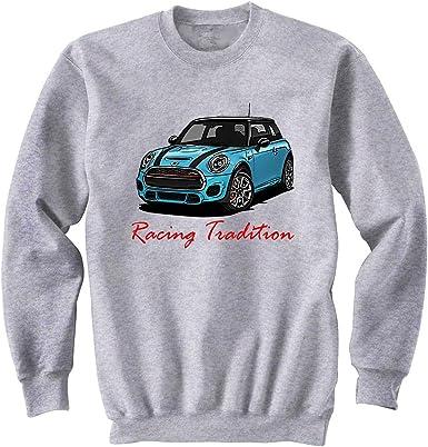TEESANDENGINES Mens Mini Cooper Red Inspired Racing Grey Long Sleeved T-Shirt