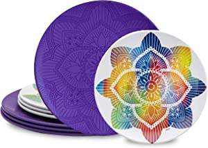 bzyoo BPA-Free Dishwasher Safe 100% Melamine Lightweight La La Mandala Plate Set Best for Indoor and Outdoor Party Environmental Friendly (8 PCS Plate set, Service for 4, Purple)