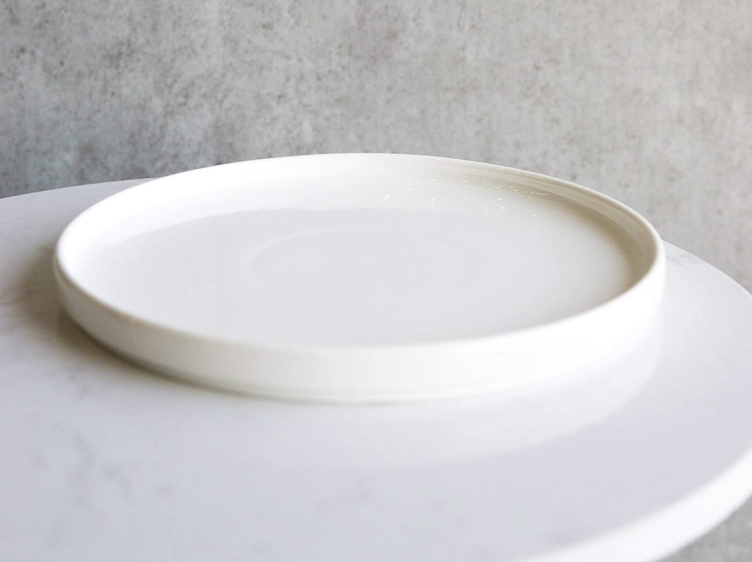 Ebros Pack Of 3 Kitchen Dining Modern Contemporary Natural White Stoneware Porcelain Large Coupe Round Plates 9.25