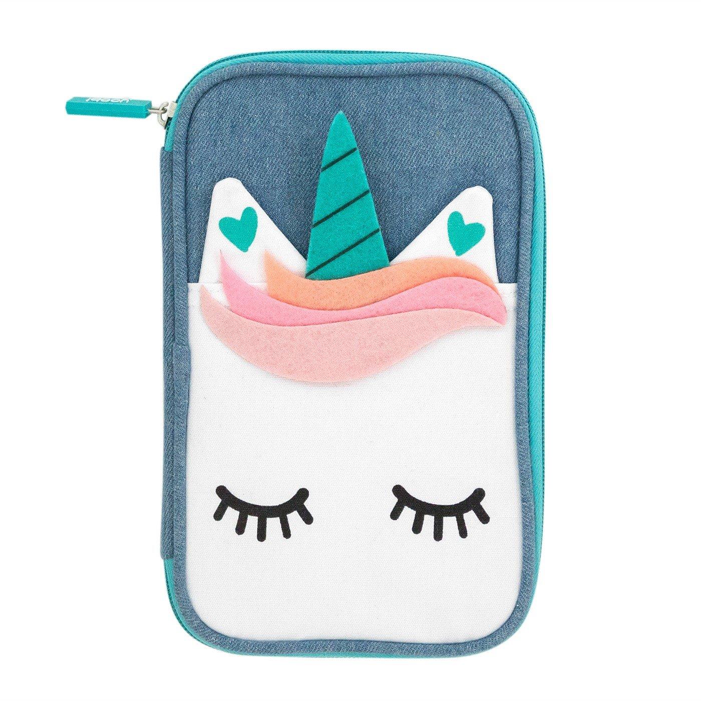 Yoobi Denim Unicorn Pencil Case