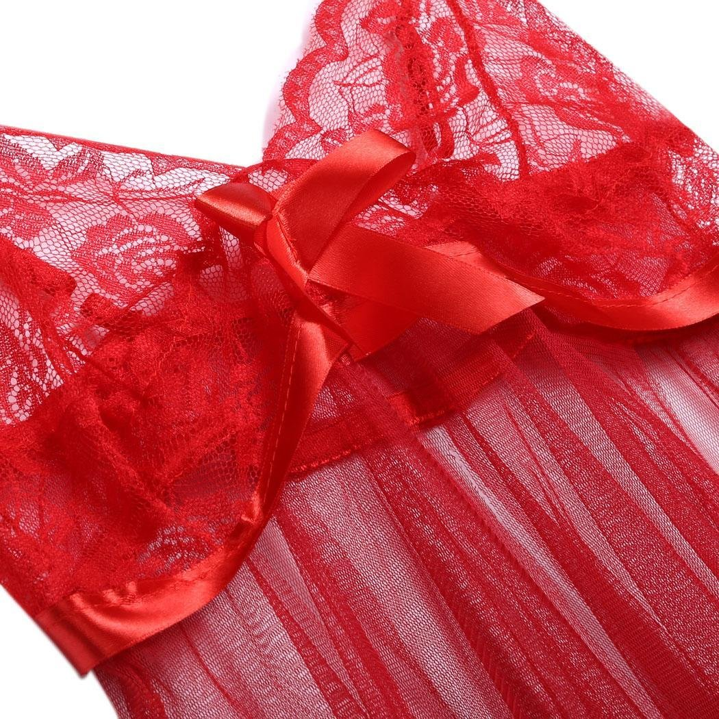 kirken Women Sexy Lingerie Lace See-Through 2 Pieces Babydoll Mini Dress and G-String Red