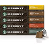 Starbucks by Nespresso, Mild Variety Pack (50-count single serve capsules, 10 of each flavor, compatible with Nespresso…