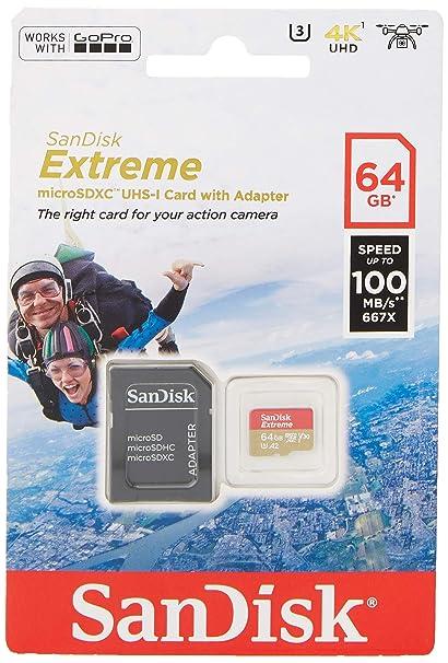 SanDisk Extreme - Tarjeta de memoria 64GB microSDXC para móvil, tablets y cámaras MIL + adaptador SD + Rescue Pro Deluxe, velocidad de lectura hasta ...