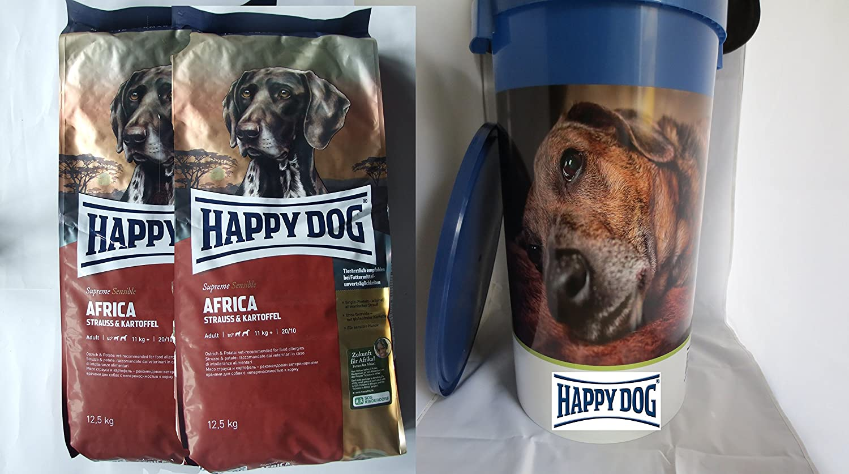 Happy Dog 2 x 12,5kg Africa + Futtertonne 43L