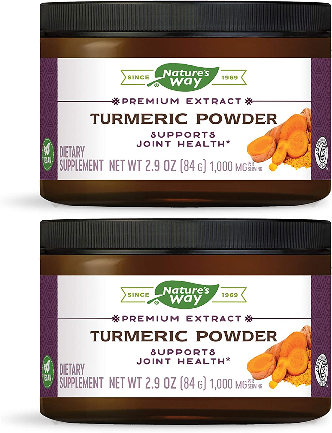 Nature s Way Standardized Turmeric Powder, Tru-ID Certification, Vegetarian, 3 Ounce Packaging May Vary , Pack of 2