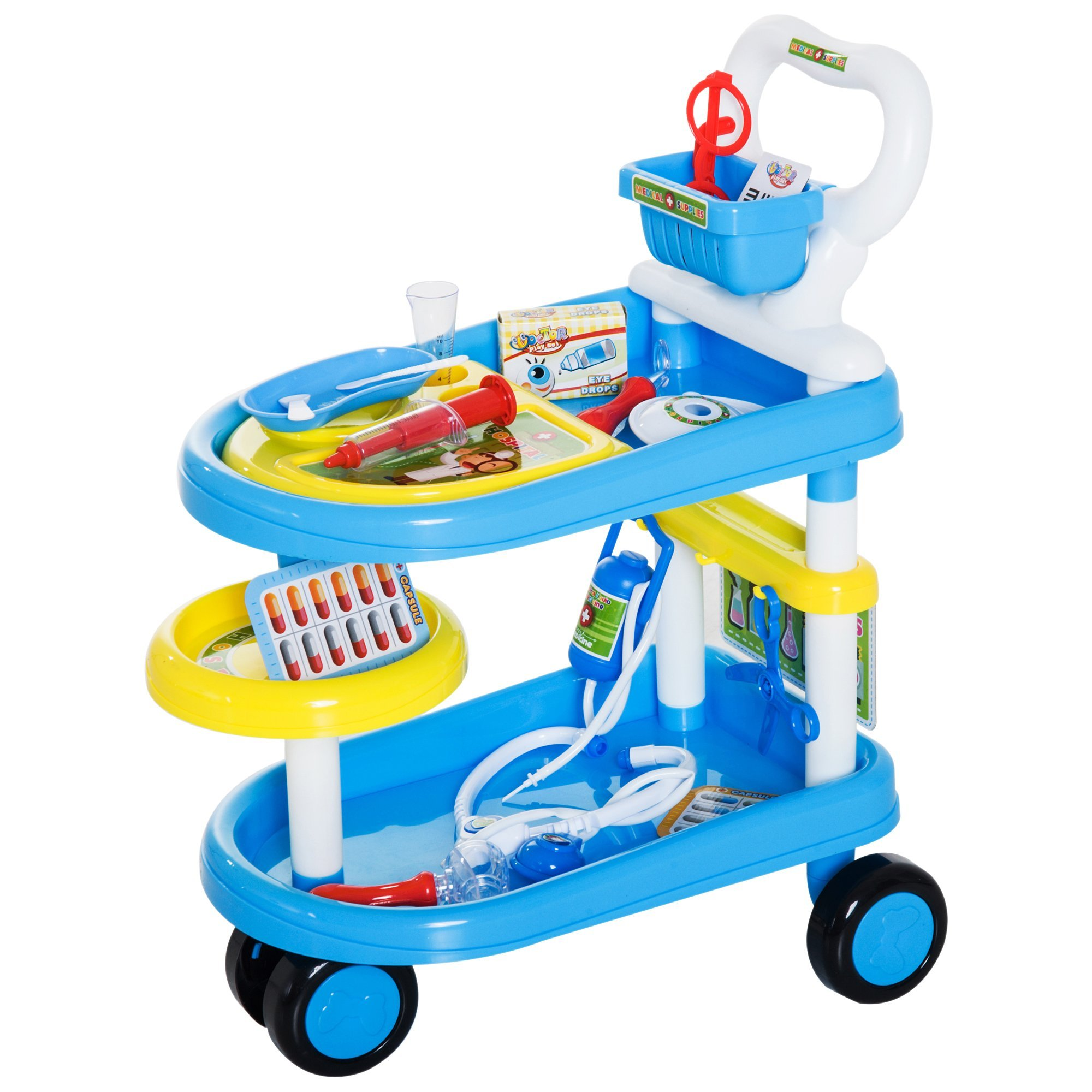 Qaba 37 Piece 2-Tier Kids Doctor Trolley Playset with Medical Accessories