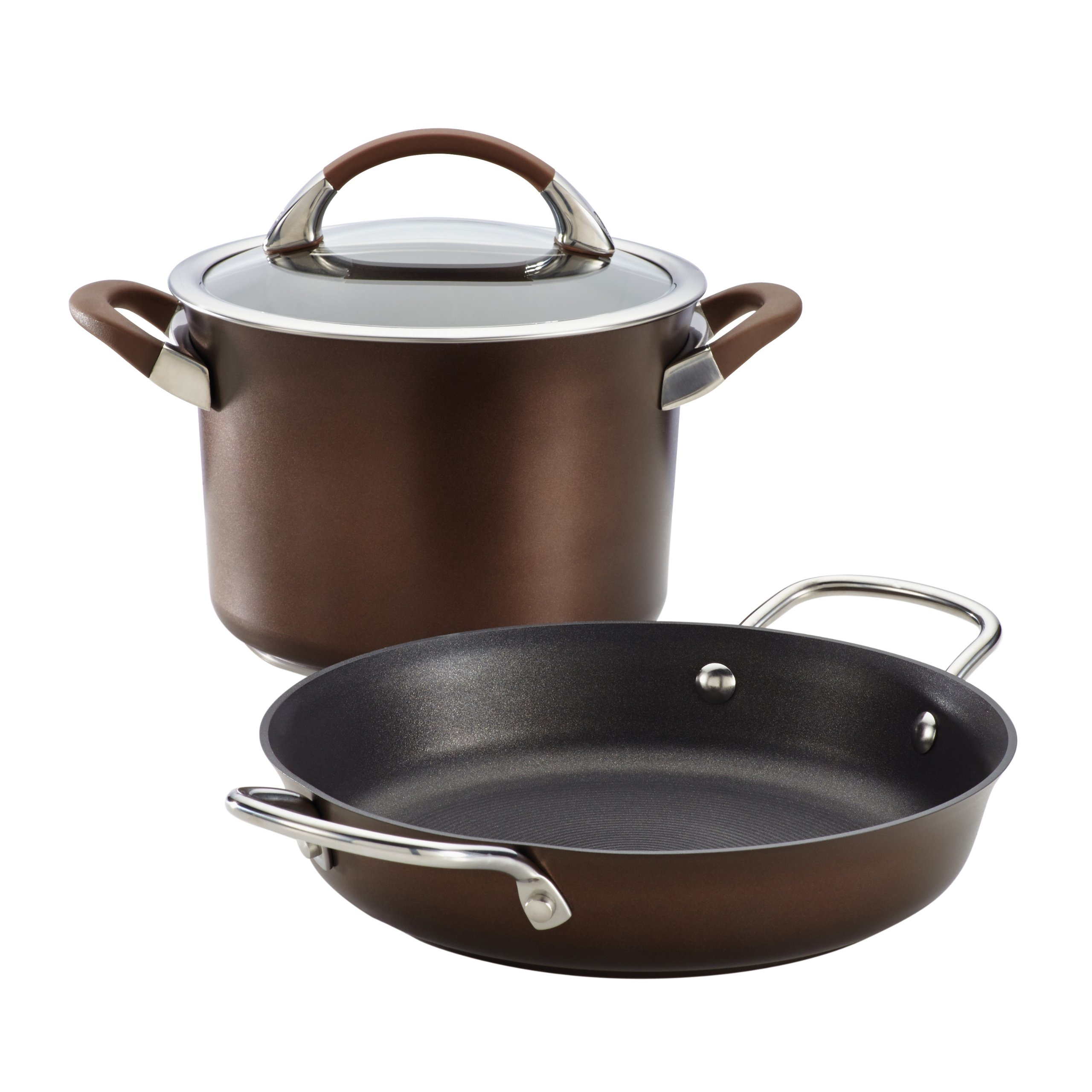 Circulon Symmetry 3 Piece Chocolate Hard Anodized Aluminum Cookware Set by Circulon