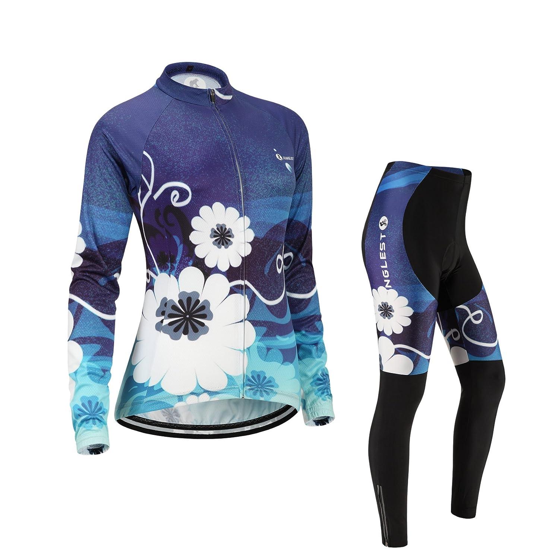 Cycling Jersey Setレディース長袖(S ~ 5 X L、オプション:よだれかけ、3dパッド) n252 B01BX2F620  タイプ:セット(フリース) M(2.8cm 3D pad)(158-169cm/50-64kg)