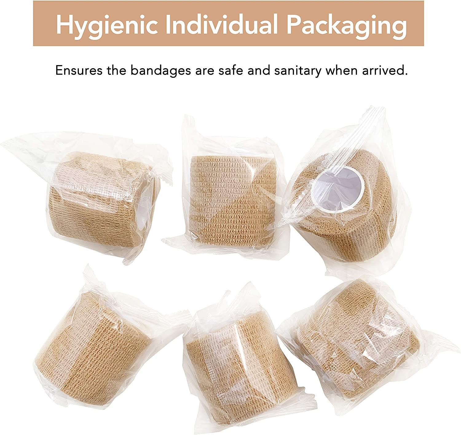 """Cohesive Bandage 2"""" x 5 Yards, 6 Rolls, Self Adherent Wrap Medical Tape, Adhesive Flexible Breathable First Aid Gauze Ideal for Stretch Athletic, Ankle Sprains & Swelling, Sports, Human, Animals, Tan: Health & Personal Care"""