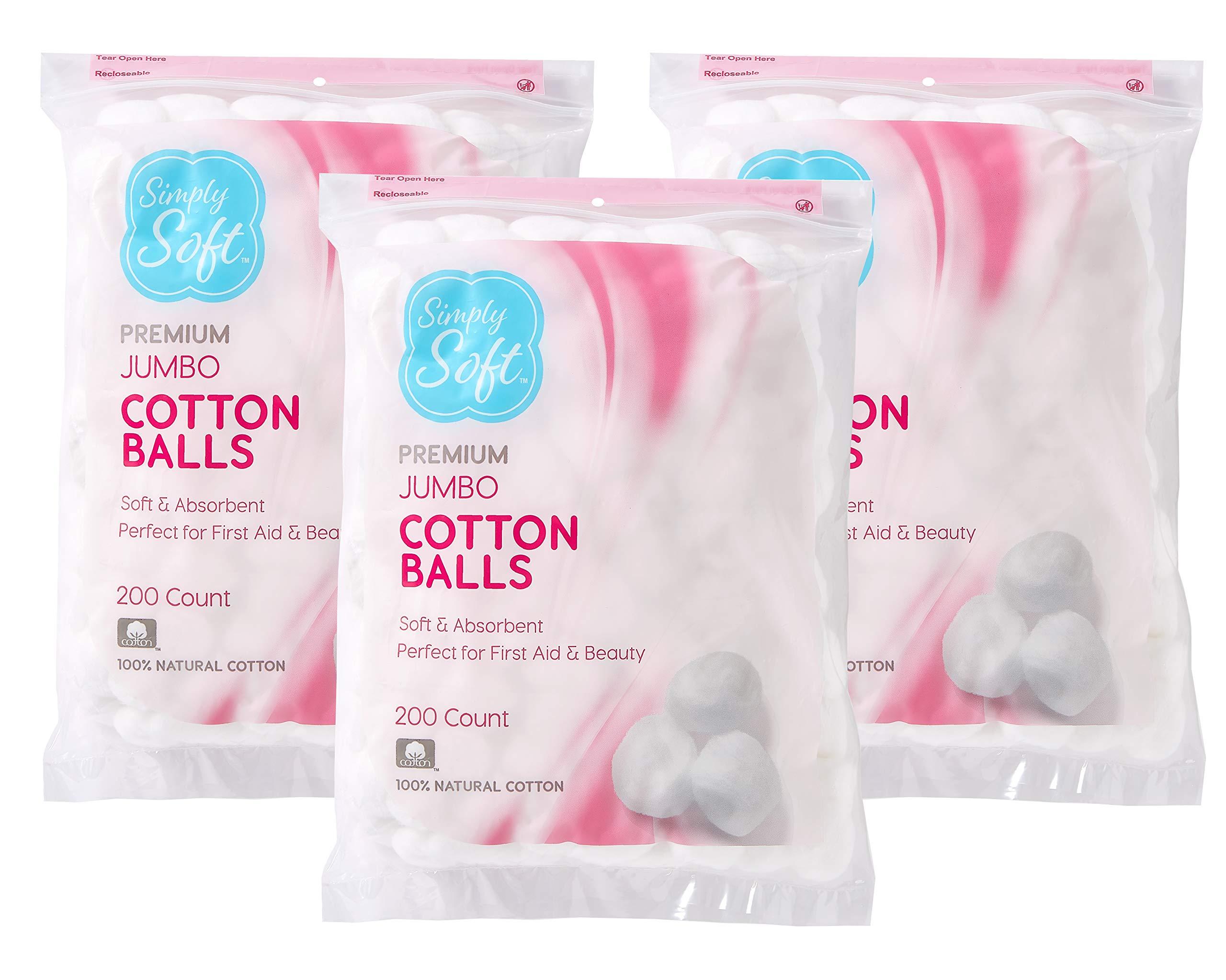 Simply Soft Premium Cotton Balls, 100% Pure Cotton, Absorbent, 600 Count (3 - 200 Count Bags)