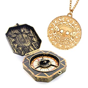 Pirate toy compass and necklace with aztec gold coin aztec pendant pirate toy compass and necklace with aztec gold coin aztec pendant for pirate costume halloween freibeuter mozeypictures Images