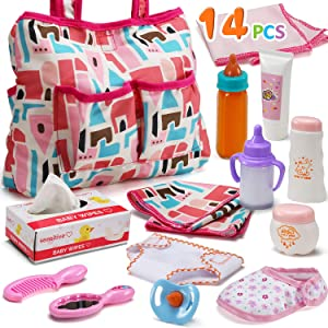 14 Pack Baby Doll Accessories, Baby Doll Feeding and Caring Set Includes Diaper Bag, Doll Diapers, Magic Bottle, Changing Mat for Girl Toddler Kid, Babies Pretend Play Set for Birthday Gift Christmas