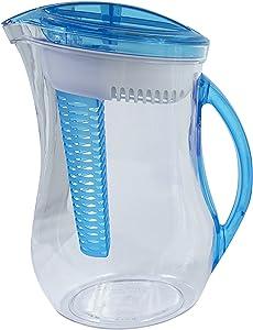 Cool Gear Water Filter Filtration Infuser Pitcher Plus Fruit Tea Flavor Infusion 2.44 LIter, Blue