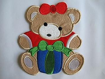 Beaded sequin applique teddy bear l white ab
