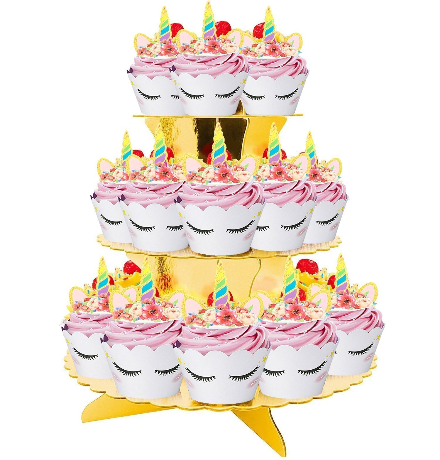 Rainbow Unicorn Cupcake Toppers and Wrappers w BONUS Gold Cupcake Stand - Themed Glitter Horn Cake Topper + Rainbow Wrapper DIY Baking Decorations Kit, Kids Birthday Party Supplies Accessories| 48pcs by Quality Party Supplies (Image #3)