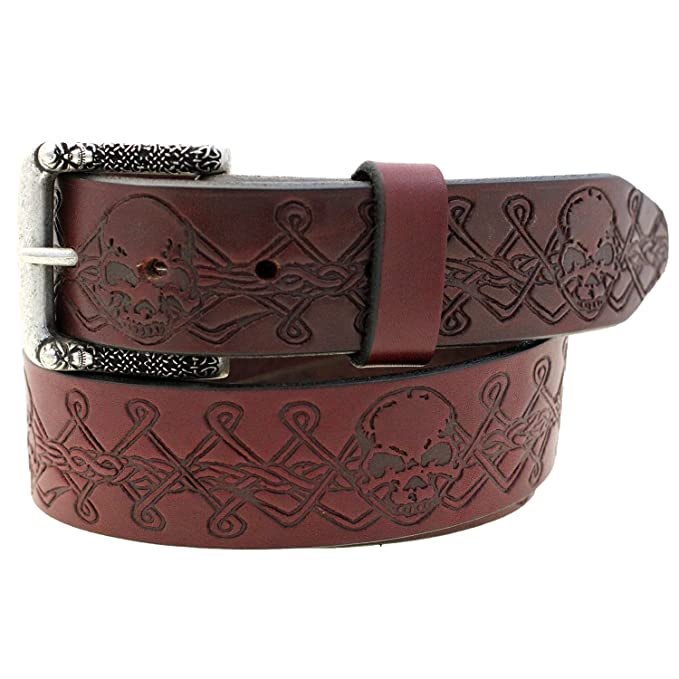 Deluxe Adult Costumes - Men's burgundy skull design latigo leather belt and silver metal skull buckle