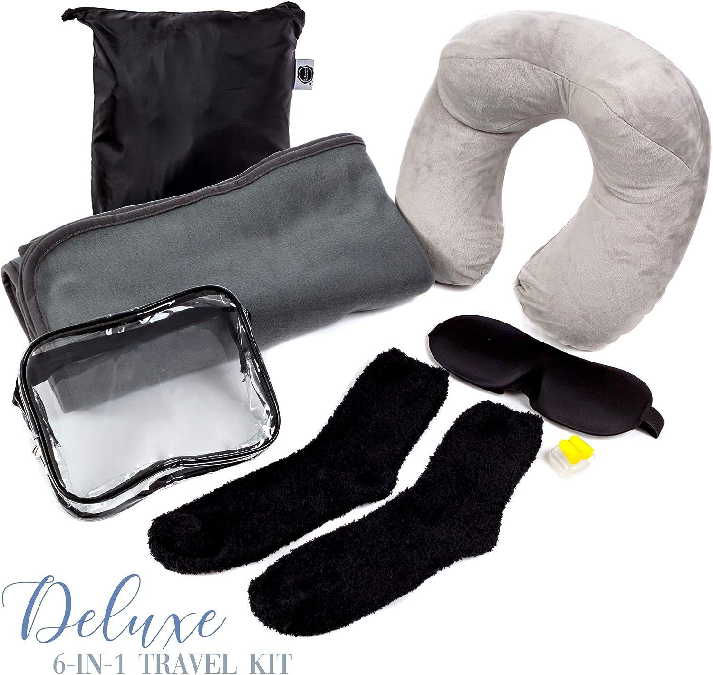 Repose Nuque Gonflable pour Avion Kit de Voyage Luxueux 7-en-1| Couverture Polaire Premium Masque 3D pour Yeux Oreillettes et Chaussettes Souples avec Sac Pratique Sac Toilette TSA Transparent