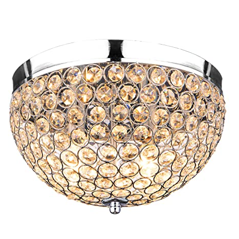 Crystal Ceiling Light Flush Mount Oak Leaf Round Crystal 2 Bulbs Base Ceiling Chandelier Lighting  sc 1 st  Amazon.com & Crystal Ceiling Light Flush Mount Oak Leaf Round Crystal 2 Bulbs ...