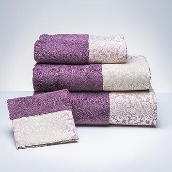 Sancarlos - Toalla Online Ashley Morada Morado - Cenefa Jacquard. - Densidad 500 g. - Rizo 100% algodón.: Amazon.es: Hogar