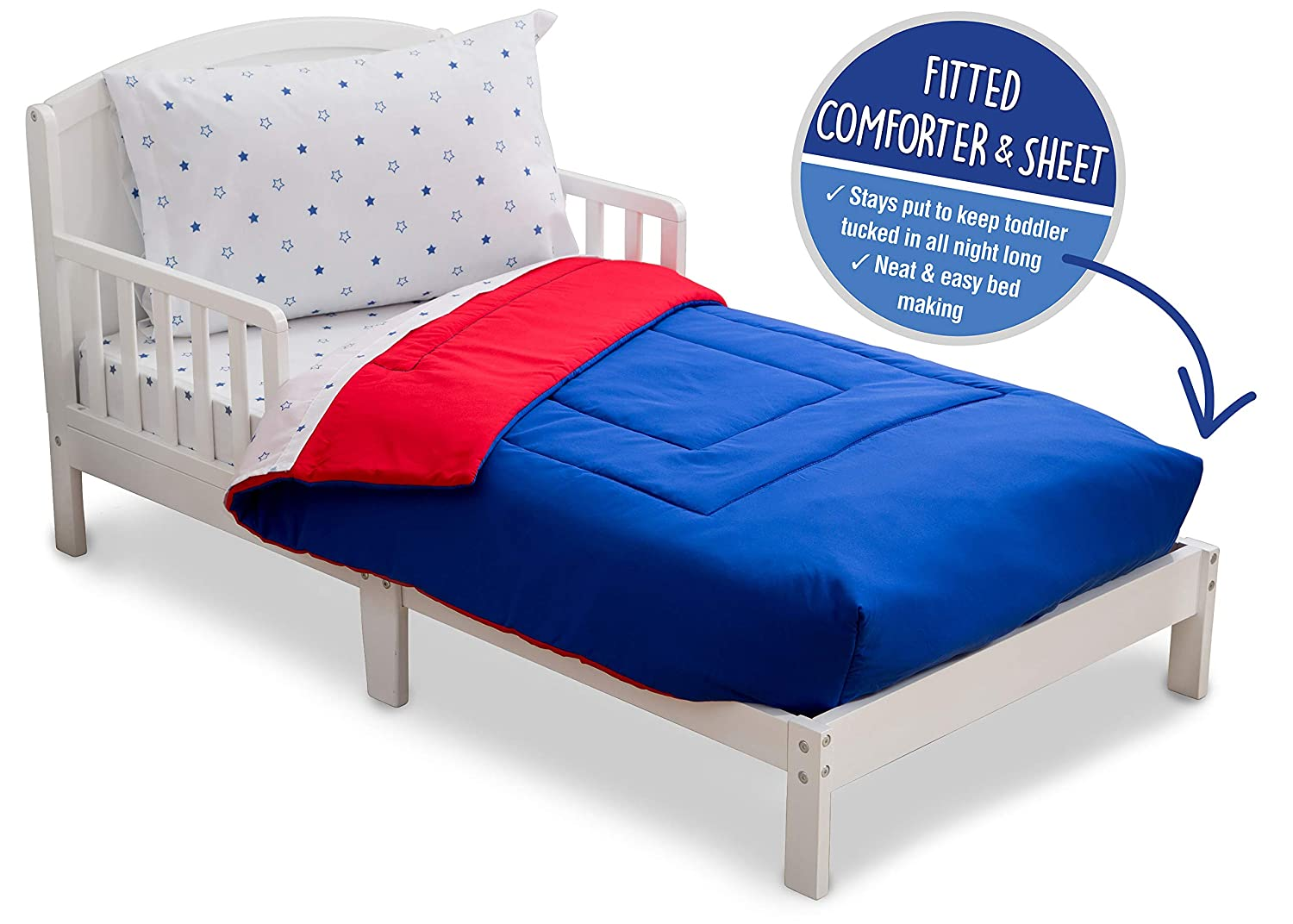 Toddler Bedding Set   Boys 4 Piece Collection   Fitted Sheet, Flat Top Sheet w/ Elastic bottom, Fitted Comforter w/ Elastic bottom, Pillowcase   Delta Children   Boys American   Red White Blue