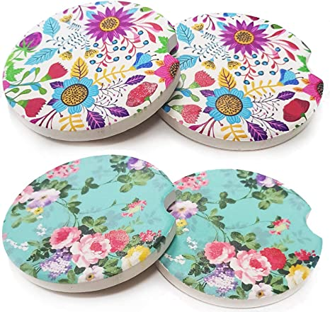 Amazon Com Oumuamua Absorbent Car Coaster For Drinks 4 Pack Ceramic Coasters For Car Cup Holder Stone Coasters Keep Vehicle Stay Away From Dust Drink Sweat Flower 2 65 Home Kitchen