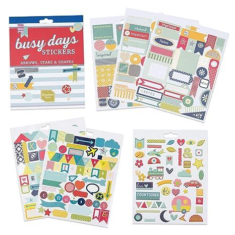 Pegatinas para Scrapbook y el Planner Busy Days de Boxclever Press. Cuadernillo de 6 páginas con Stickers de Flechas, Estrellas y Formas. Pegatinas ...