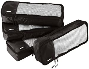 AmazonBasics 4-Piece Packing Cube Set - Slim, Black