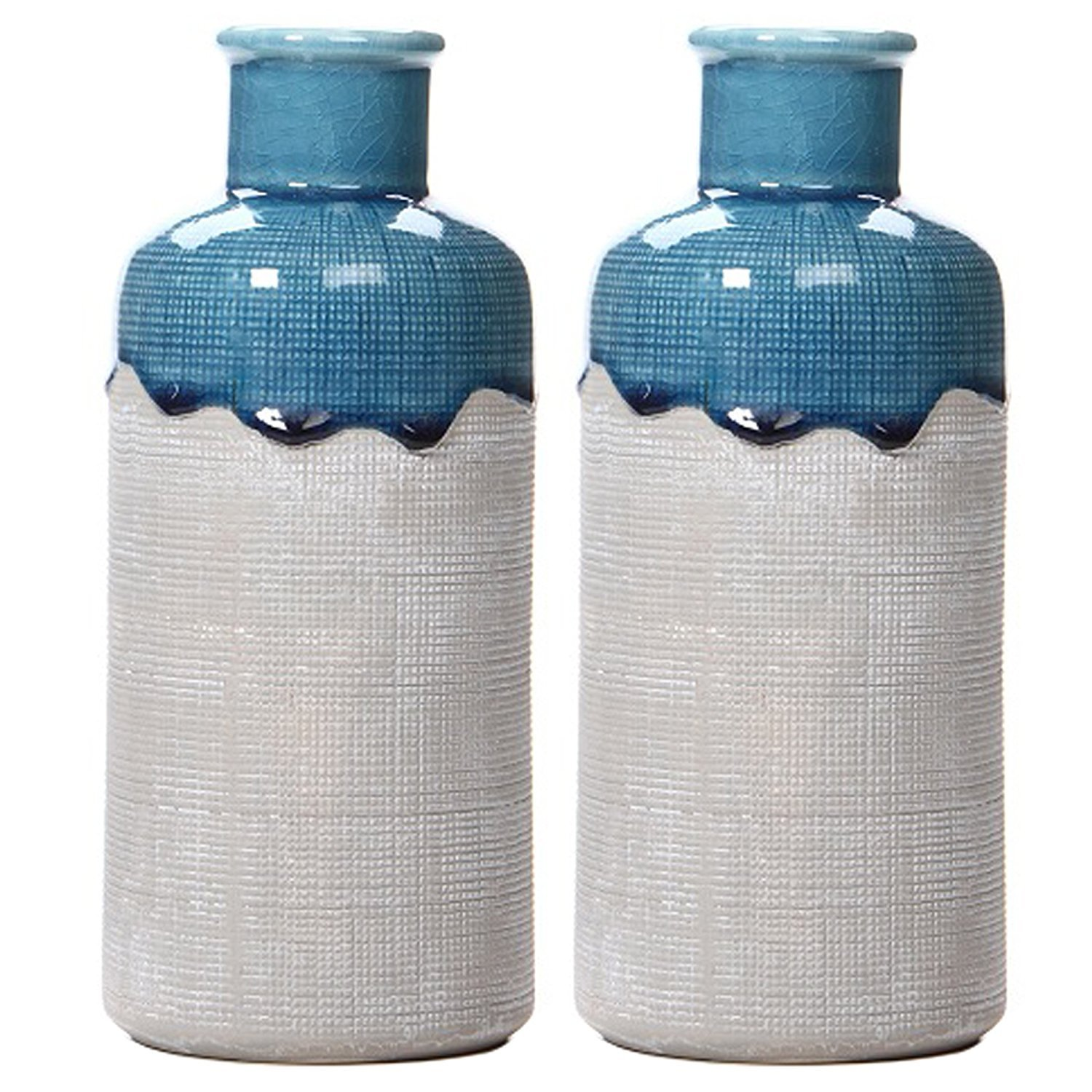 Hosley's Set of 2 Large Ceramic Vases - 9 High. Great Gift for Wedding, Spa, Aromatherapy, reiki HG Global H64483WAC