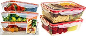 Meal Containers 5 pack - Bento Lunch Box 3pcs set 24oz & Bento Lunch Box 2pcs set 40,5 oz Meal Prep Containers Microwavable - BPA Free - External Leak Proof