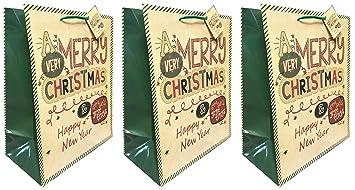 Feliz Navidad bolsas de regalo grandes 3 unidades Luxury ...