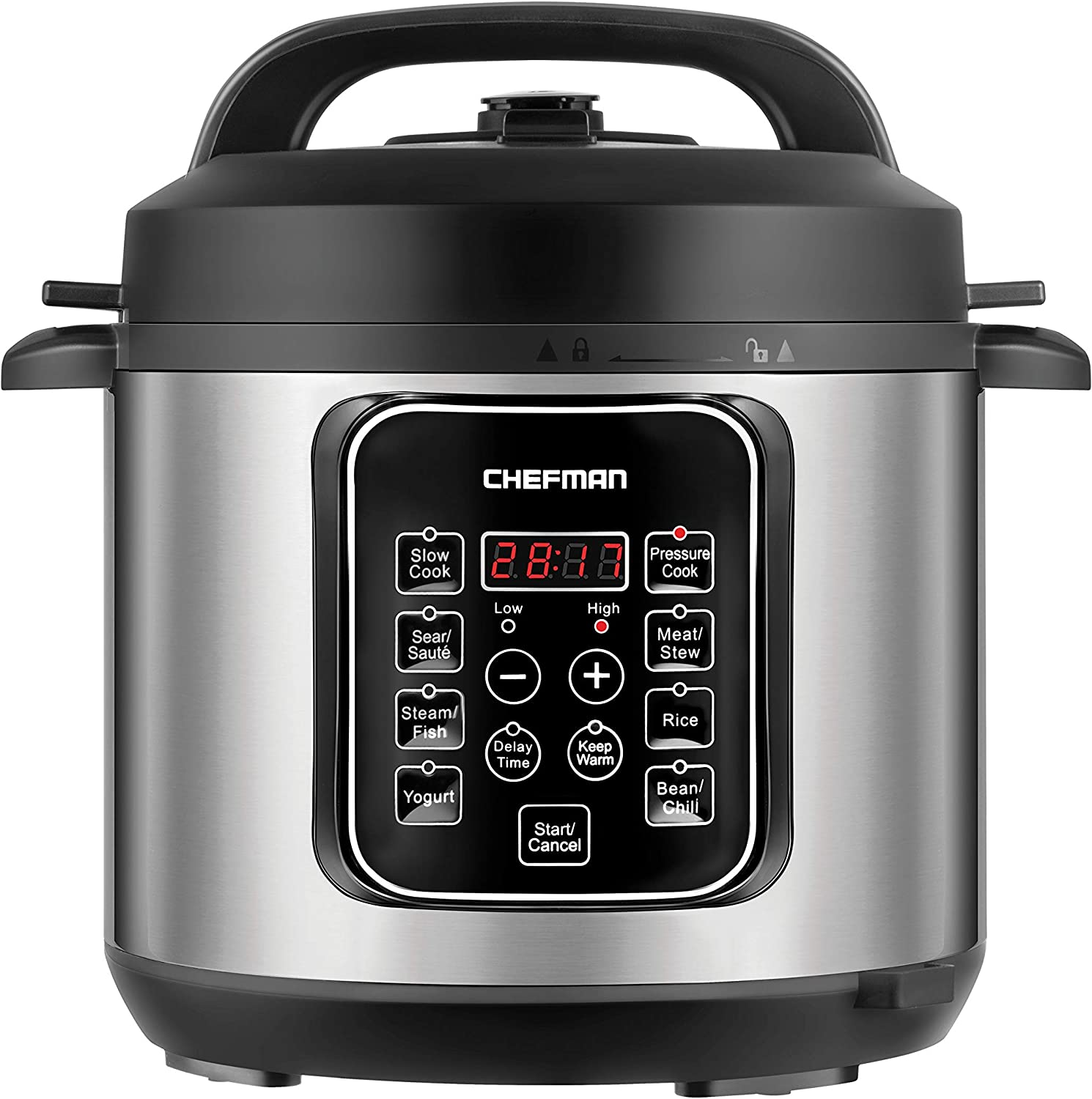 Chefman 6 Quart Electric Multicooker, Cook Slow, Rice-Cooker, Food Steamer, Sauté, Yogurt, Soup/Broth Maker, Makes Meals in Minutes, 14 Presets, Stainless Steel