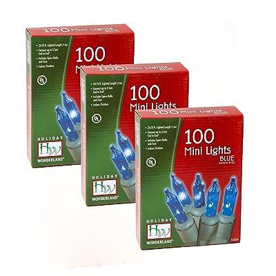 Holiday Wonderland Christmas Light Set, Blue, 100 Mini Lights (Pack of 3): Home & Kitchen