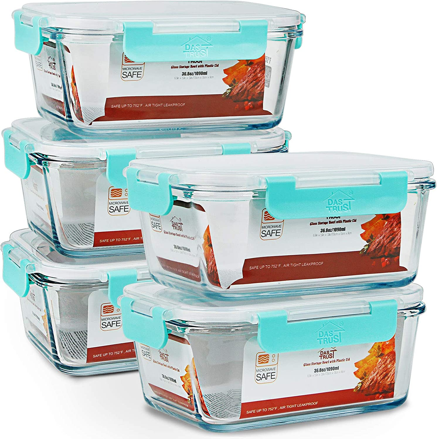 5 Pack 36.8oz Upgraded Meal Prep Containers with Lifetime lids Glass Food Storage Containers Bento Boxes Lunch Containers with Leakproof Lids, Oven Microwave Freezer Dishwasher Safe