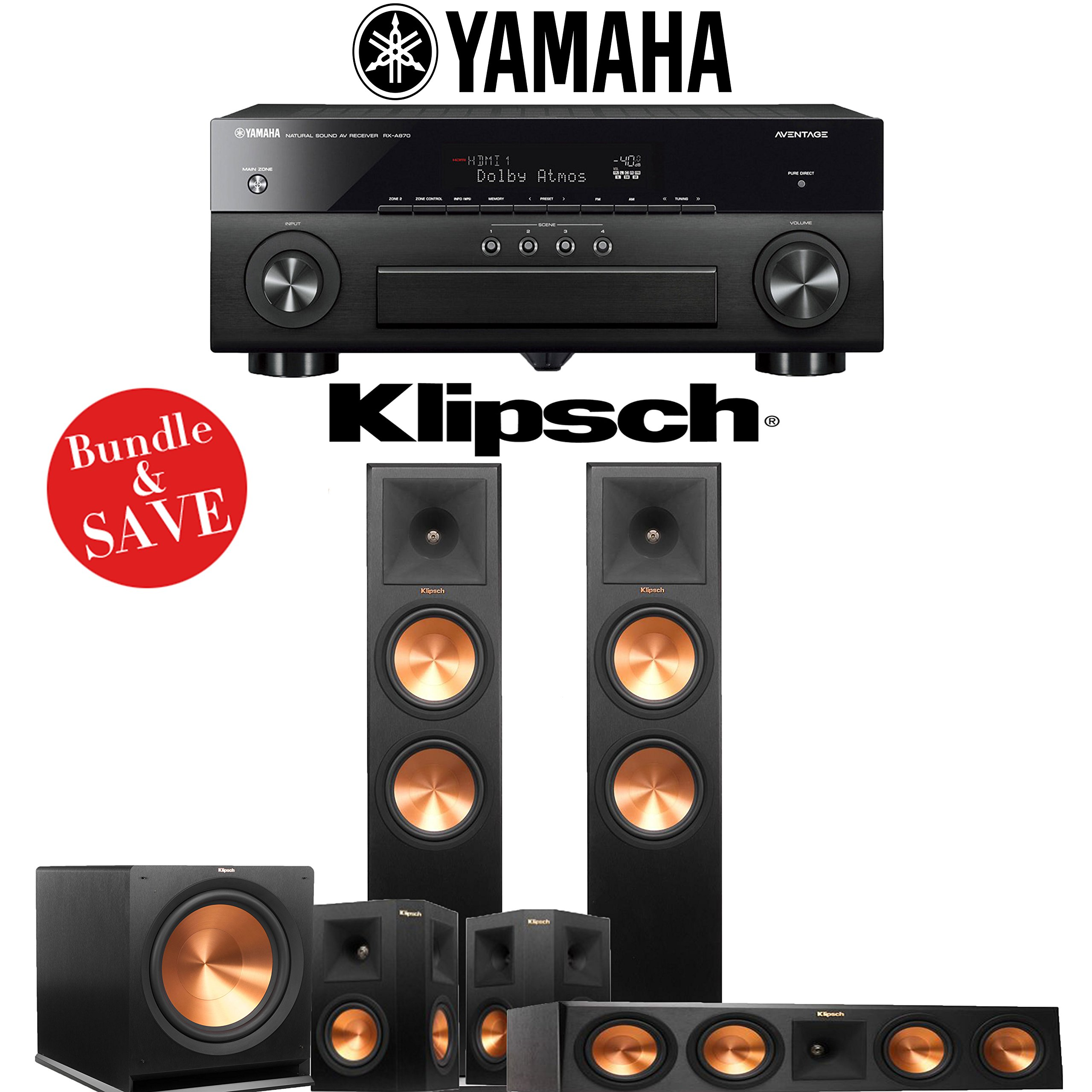 Klipsch RP-280F 5.1-Ch Reference Premiere Home Theater System with Yamaha AVENTAGE RX-A870BL 7.2-Channel Network AV Receiver by Klipsch