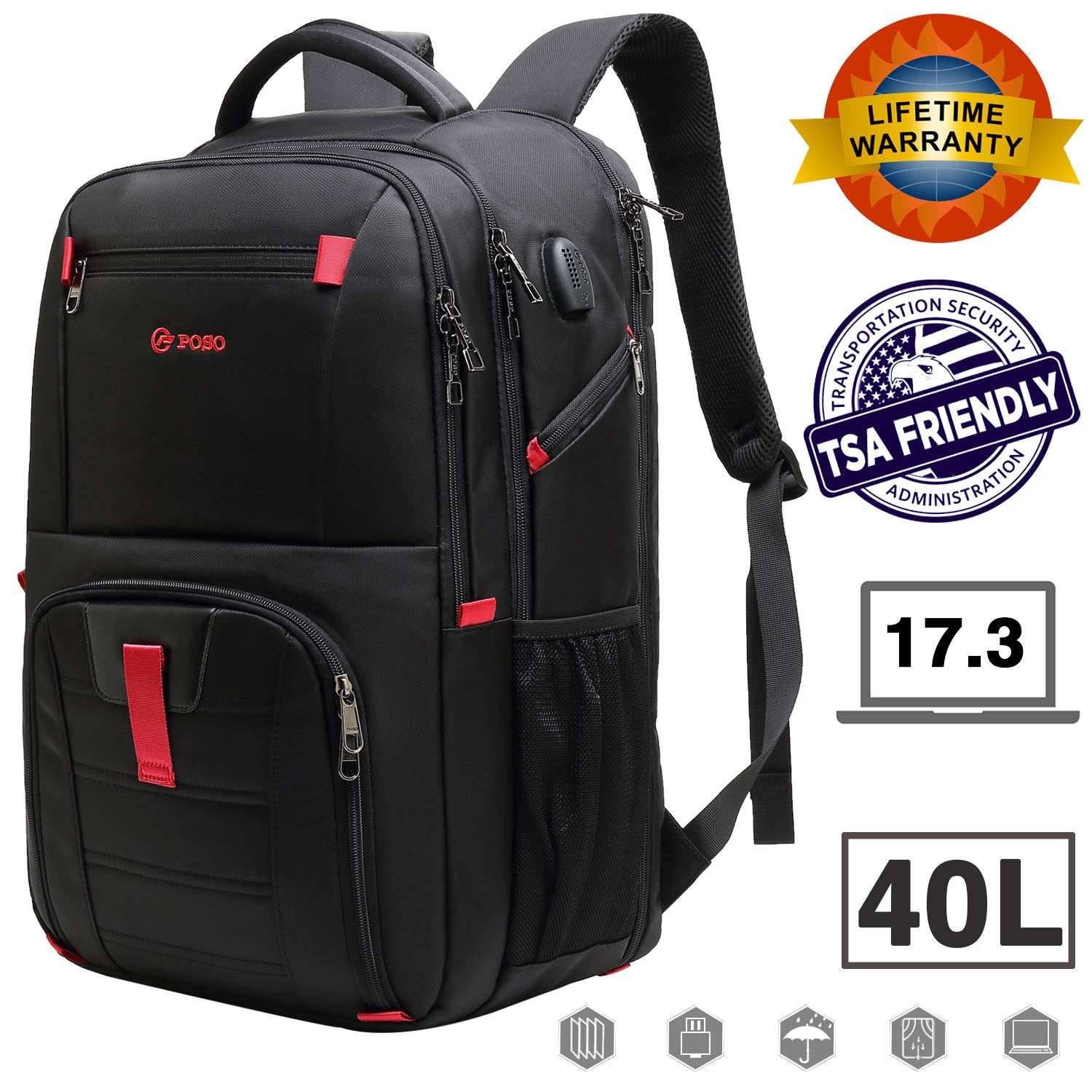 17.3 inch Laptop Backpack, Large Capacity Laptop Backpacks for Men & Women with USB Charging Port, TSA Checkpoint Friendly Waterproof Laptop Backpack, Business Travel Tablet Backpacks (Black)