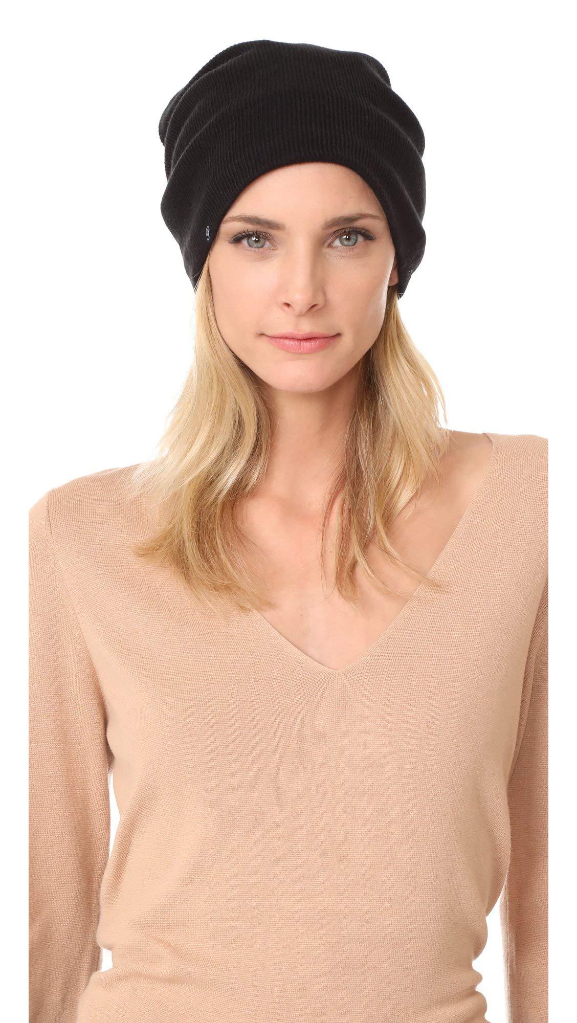 Plush Barca Slouchy Fit Fleece Lined Beanie Hat (Black)