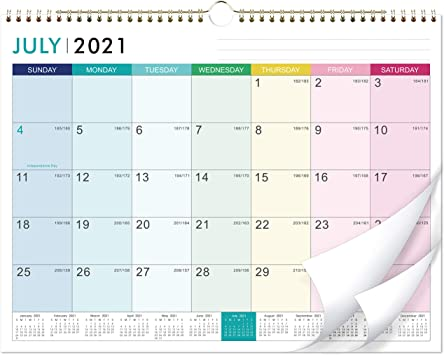 Wall Calendar 2022.Amazon Com 2021 2022 Calendar 18 Monthly Wall Calendar With Thick Paper 14 6 X 11 5 Jul 2021 Dec 2022 Twin Wire Binding Hanging Hook Unuled Blocks With Julian Date Horizontal Colorful Lump Office Products