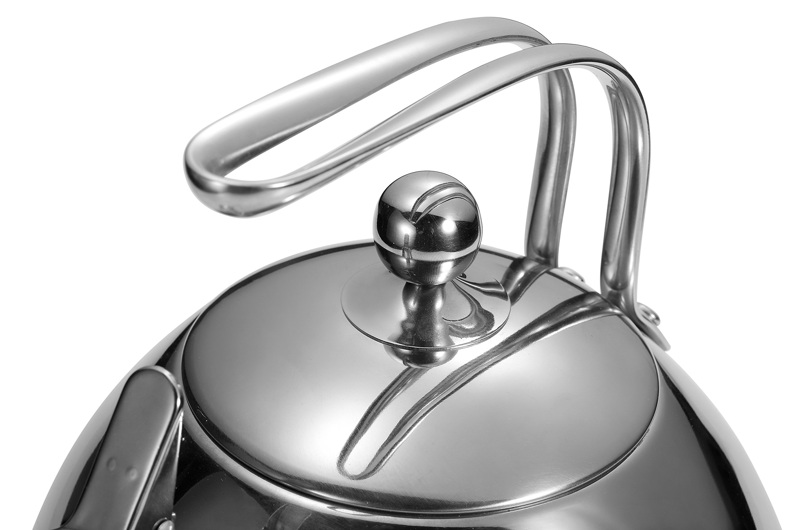 Injoy Whistling Tea Kettle 304 Stainless Steel Teapot Classic Cookware in LFGB/FDA Standard for All Stovetops - 1  Insulation Pad Included, 2.64 Quart/2.5 L, Silver by InJoy (Image #3)