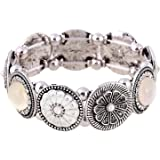 D EXCEED Gift Idea Floral Enamel Charm Stretch Bangle Bracelet or Bib Necklace or Jewelry Set for Women