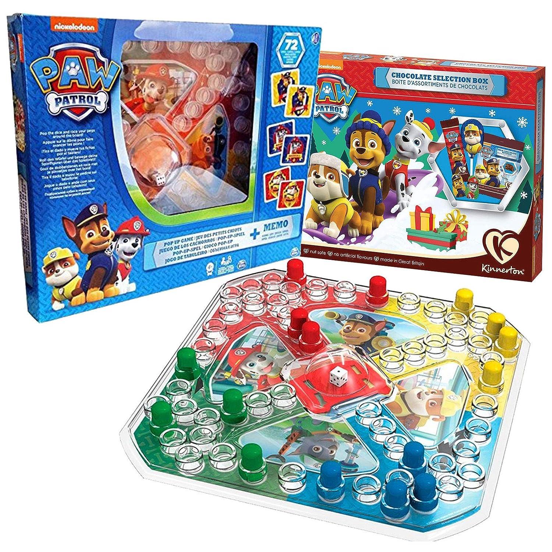 JuniorToys Paw Patrol Brettspiel Set und Paw Patrol Weihnachts-Schokolade - 2 Spiele in Einem Set Brettspiel mit Wü rfel und EIN Memo-Legespiel mit 72 Karten