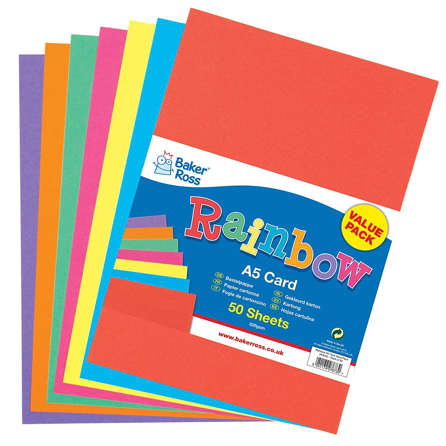 Card Making A5 160gsm Plain Blue Card Pack of 100 Perfect for Crafting