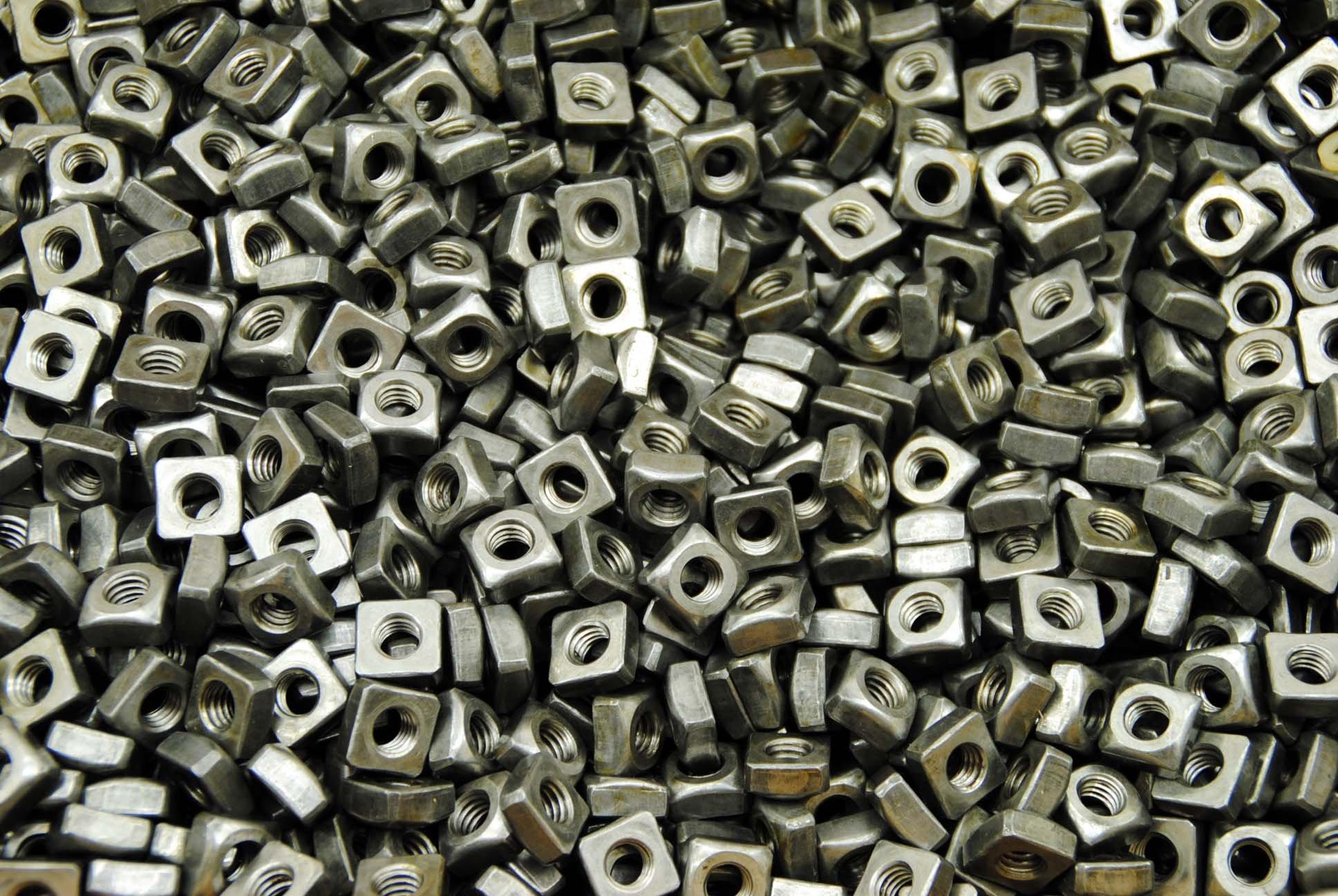 (350) Unplated 5/16-18 Square Nuts - Coarse Thread - Plain Steel