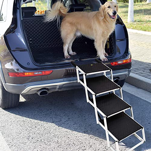 Snagle Paw Portable Dog Car Step Stairs, Accordion Aluminum Frame Folding Pet Ramp for Indoor Outdoor Use, Lightweight Auto Large Pet Ladder for Cars, Trucks,SUVs Cargo,and High Bed