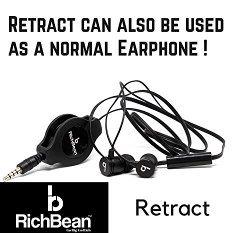 RichBean Retract Stereo Headphones with mic and Tangle: Amazon in