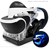 PSVR Charging Stand with Optional Illumination by Asterion Products – Rapid AC Charger Display holds the PlayStation VR…