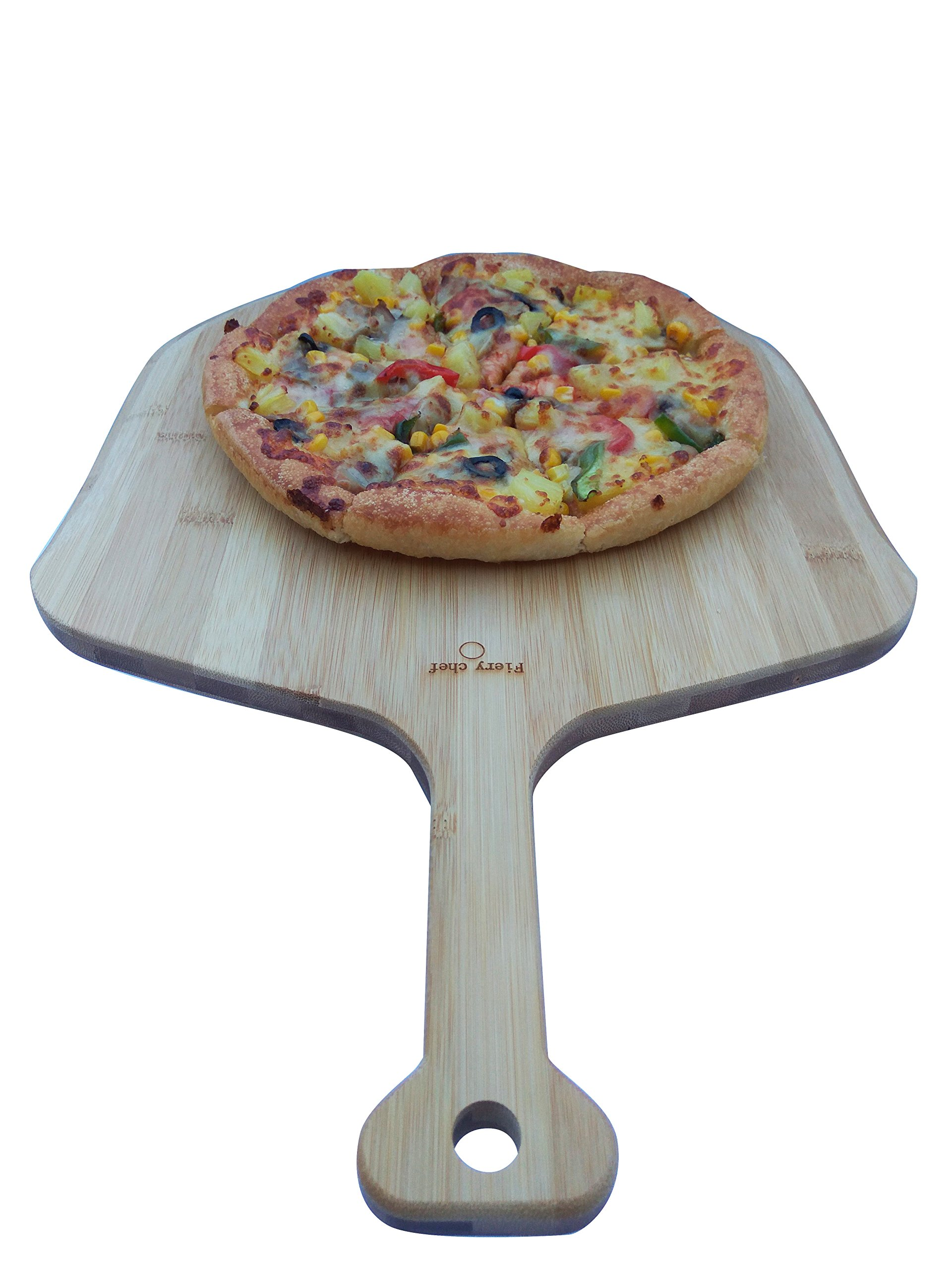Fiery Chef Eco-friendly Multi-purpose Premium Natural Bamboo Pizza Peel - Paddle for Homemade Pizza and Bread Baking 19.7-inch x 12.6-inch