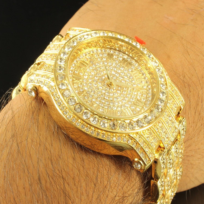 amazon com diamond co men s 5275470 ice king analog amazon com diamond co men s 5275470 ice king analog quartz golden watch watches