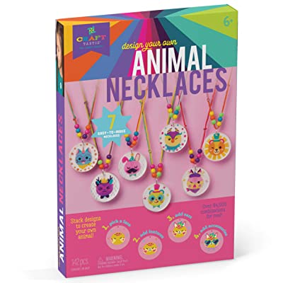 Craft-tastic – Design Your Own Animal Necklaces – Craft Kit Makes 7 Silly, Stackable, & Interchangeable Necklaces, Brown: Toys & Games