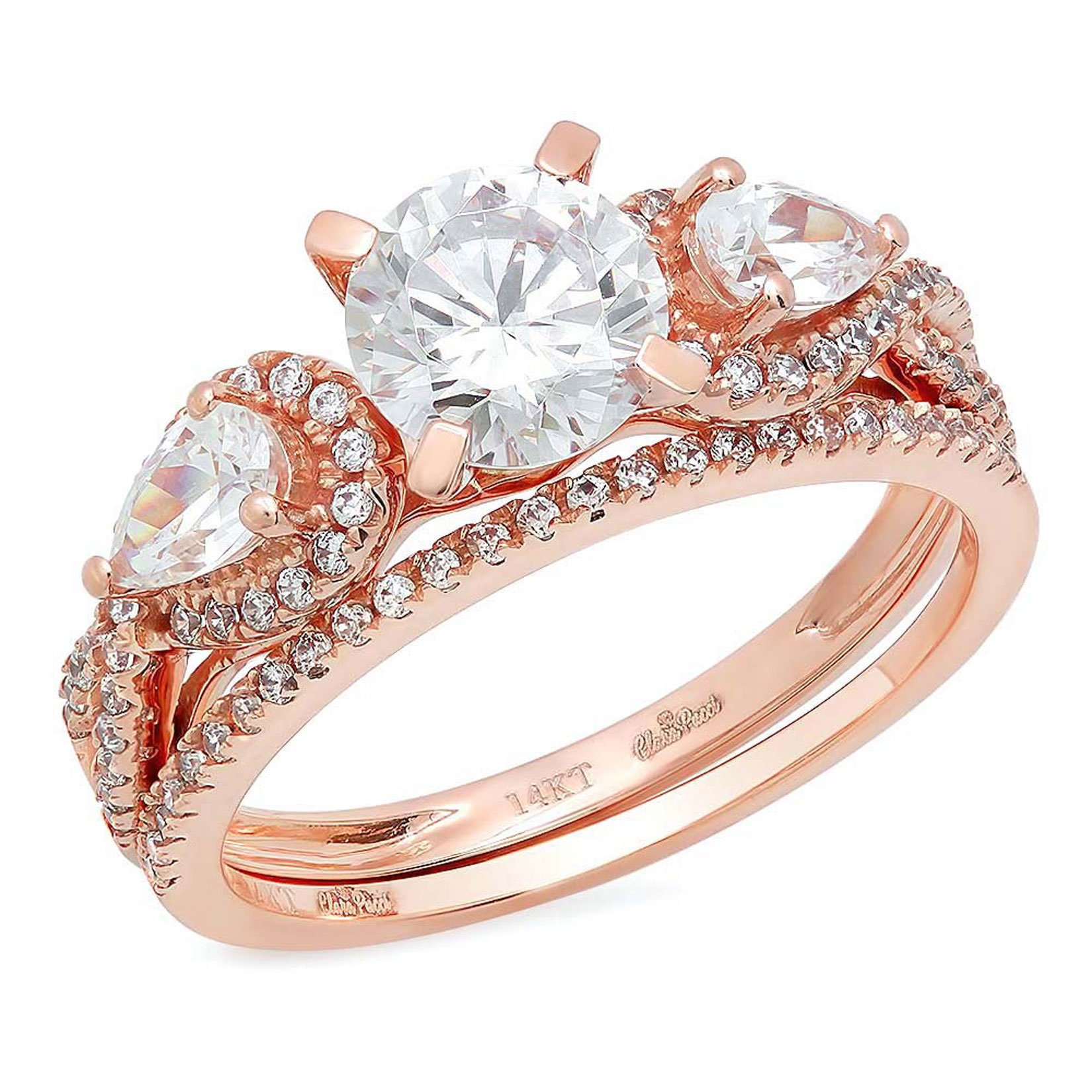 Clara Pucci 1.9 CT Round Pear Cut Pave Halo Bridal Engagement Wedding Ring band set 14k Rose Gold, Size 6.5