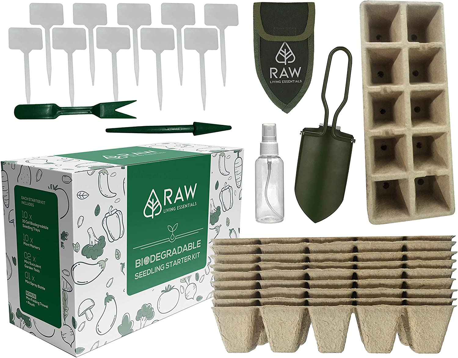 Biodegradable Seedling Tray Starter Kit - 100 Cell Natural Trays with Folding Shovel, Mini Succulent Garden Tool Set and Plant Markers for Gardening and Germination Indoors